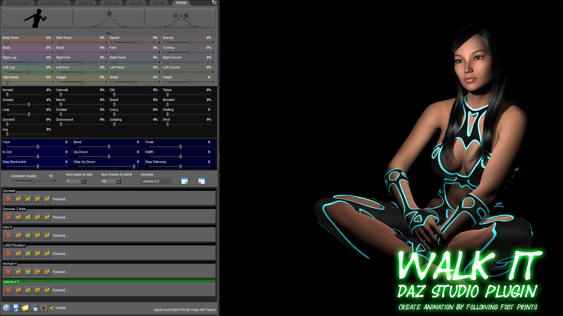 Daz Studio Plugin WalkIt Create animation by folling foot prints daz plugin